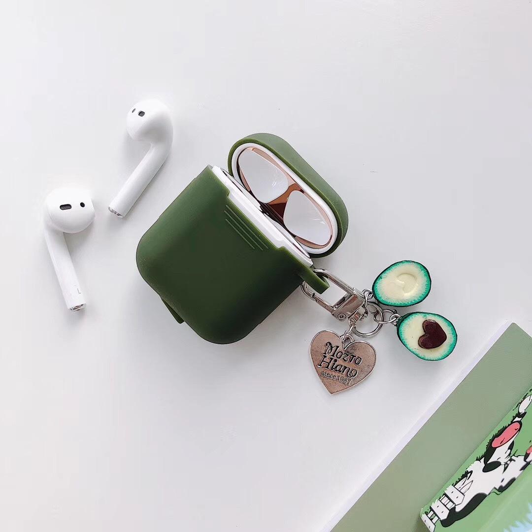 Nuevo caso Airpods manera creativa aguacate colgante oscuro AirPods verdes 1/2 de silicona funda protectora auricular inalámbrico Bluetooth caso-