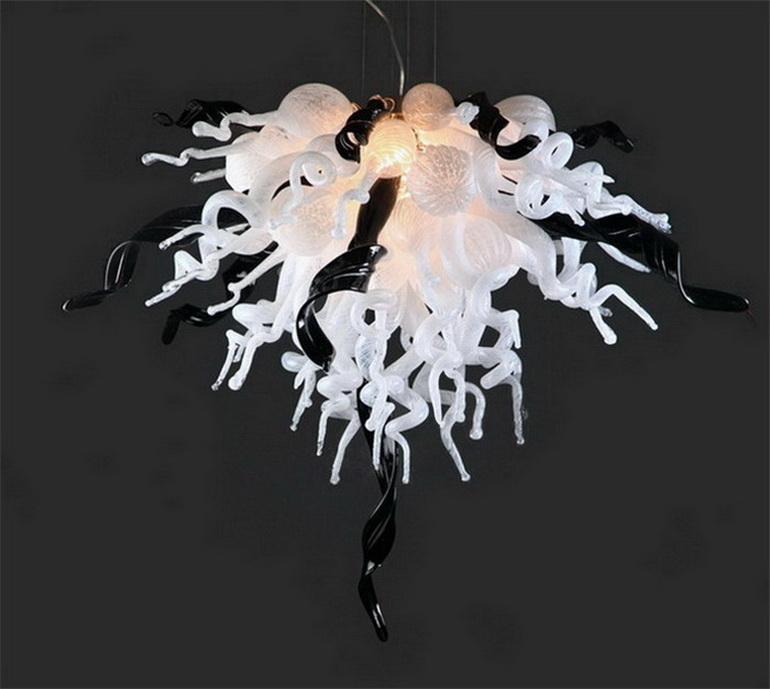 2020 현대 흑백 손 불어 유리 샹들리에 조명 유리 파이프 현대 펜던트 램프 할인 램프