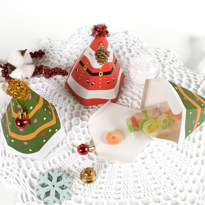 Christmas Pyramid Candy Box Triangular Pyramid Xmas Tree Santa Snowman Candy Storage Box Christmas Wedding Candy Bag