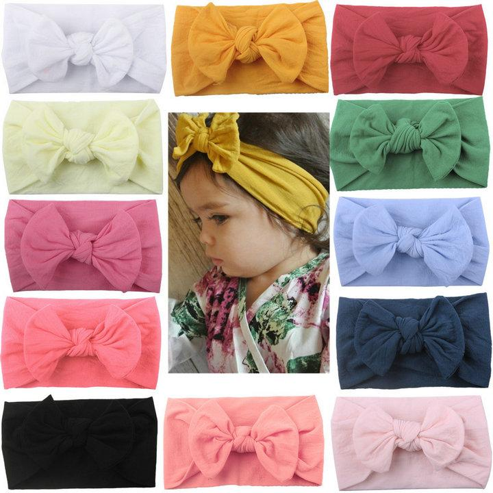 Cute New INS European American Baby Candy Solid Colors Soft Nylon Bow Headbands Baby Girl Newborn Elegant Hair Bows Accessories