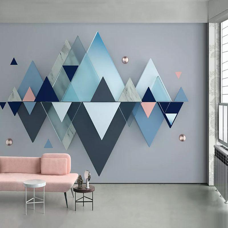 Drop Shipping Пользовательские 3D обои Синий геометрический узор фона Стена Фрески Современная спальня интерьера Большой Mural