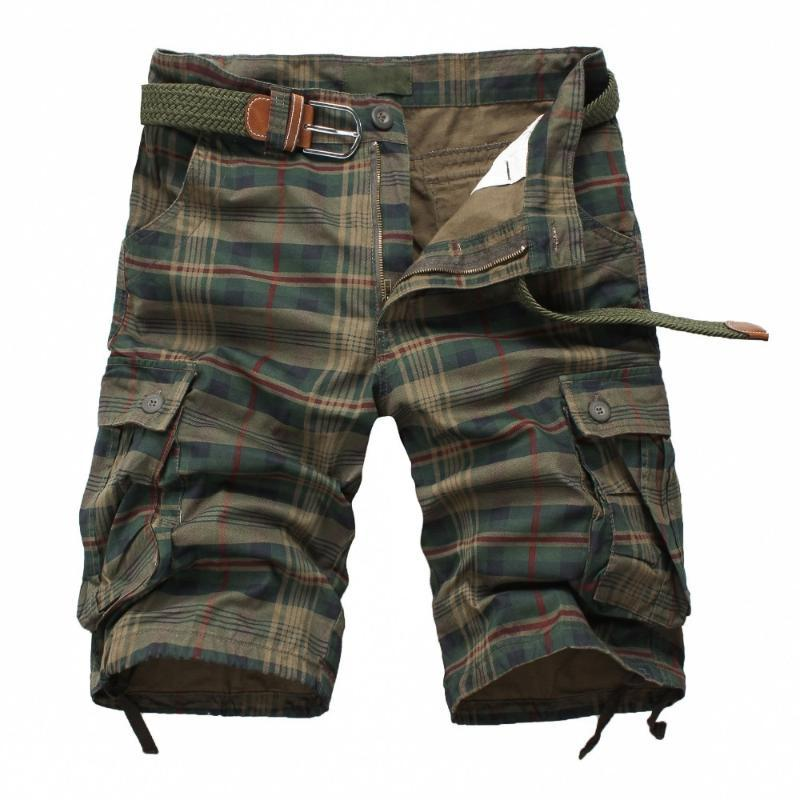 High quality England style Summer Men's Army Cargo Work Casual Bermuda Plaid Shorts Men Fashion Classic Overall Match mma shorts