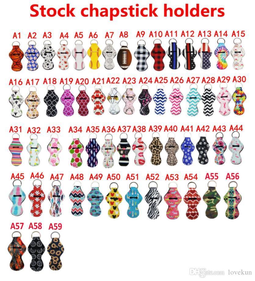 챕스틱 립스틱 추적기 59colors 패턴 릴리 인쇄 챕스틱 홀더 핸디 립밤 홀더 키 체인 주머니 참신 선물을 안전하게 보호