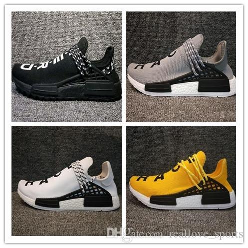 Adidas PW HUMAN RACE NMD Human Race Hu trail x pharrell williams Zapatillas de running Solar Pack Afro Holi Zapatillas de lona en blanco para hombre Zapatillas s para mujer 12-8