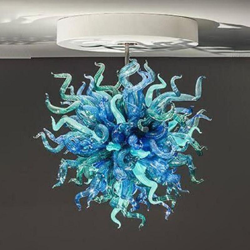 Modern LED Avizeler Lambalar Ağız Üflemeli Cam Kolye Işıkları Blues ve Yeşiller Asılı Lamba Ev Kapalı Işık Armatürleri Satılık