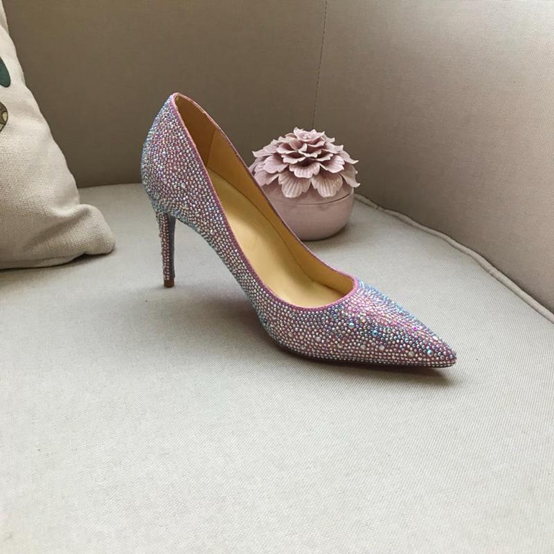 Marke Red Bottom High Heels Strass Kristall Schuhe Besetzt Frauen Pumpt Spitze Kappe Kleid Schuhe Rote Sohle Hochzeit Schuhe