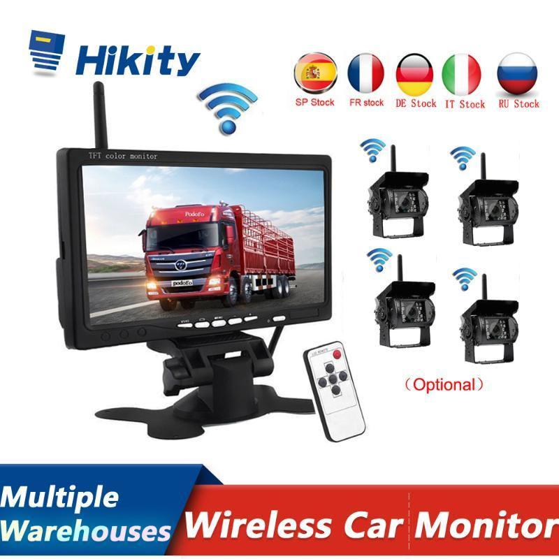 "Hikity Wireless 4 Backup Cameras IR Night Vision Waterproof with 7"" Rear View Monitor for RV Truck Bus Parking Assistance System car"