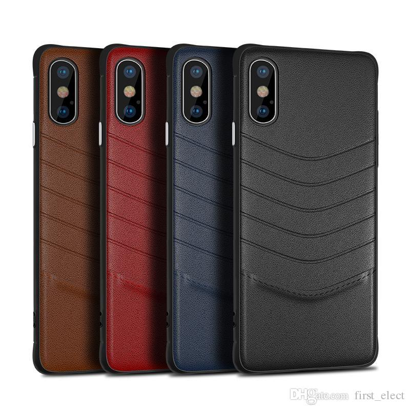 New luxury leather case for iphone XR XS MAX X 6 7 8 plus cell phone case business for Samsung Galaxy S8 S9 S10 Plus S10 Note 8 9 slim cover