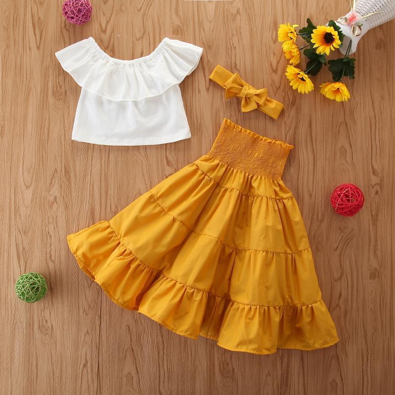 여자 정장 여름 노란색 롱 스커트 투피스 아동 의류 세트 2020 년 새로운 트렌드 어린이 화이트 민소매 셔츠 최고