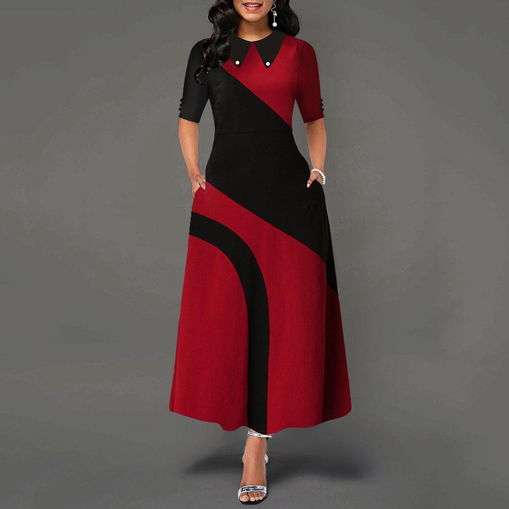 Une ligne de couleur de bureaux élégante robe de femmes à col claudine manches mi-longues dames africaines Vêtements de travail longues Maxi robe Femme Automne Y200120