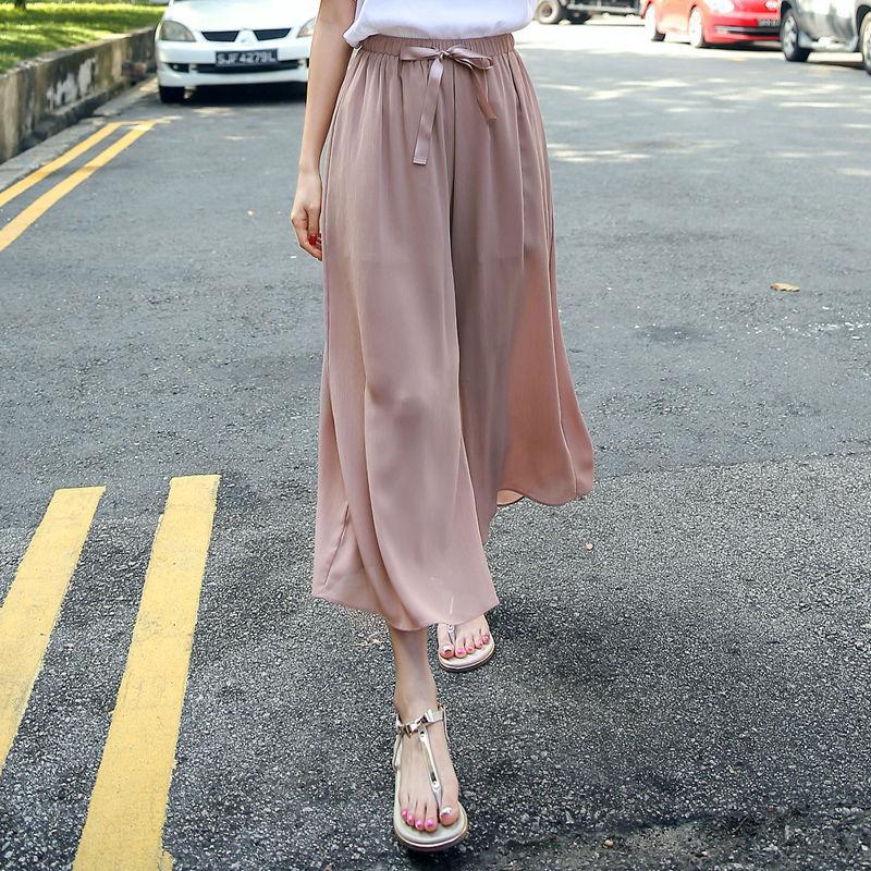 2020 Nuevas mujeres de verano Moda Gasha ancha Pierna Altas Pantalones Cinturones Elásticos Pantalones Casuales Casuales Pantalones De Algodón C12