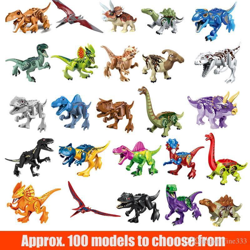 Dinos Toy 12 CM Dinossauro Blocos de Construção Blocos de Construção com Mandíbulas Móveis, Incluindo T Rex, Triceratops, Velociraptor, etc Dinossauro Brinquedo