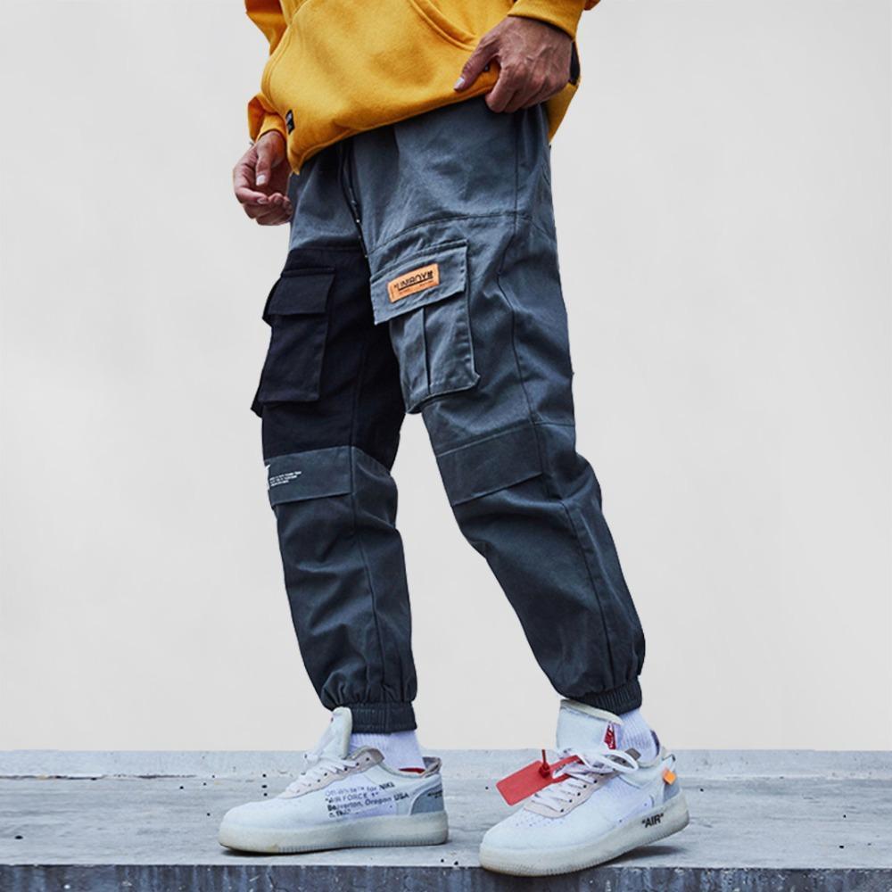 2019 Cepler Kargo Pantolon Erkekler Renk Patchwork Günlük Jogger Moda Taktik Pantolon Tide Harajuku Streetwear Streetwear Erkek