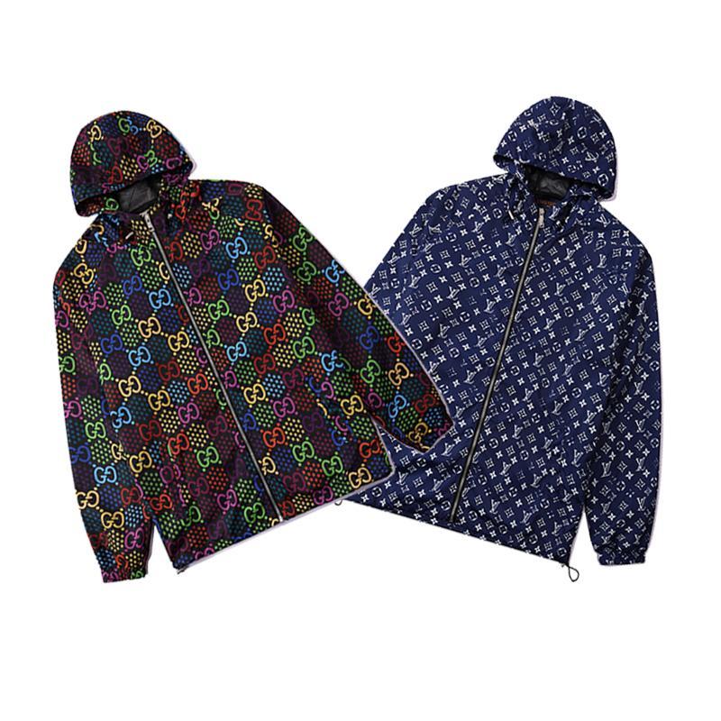 2020 mens designers de casaco com capuz Casacos Men padrão do impressão do revestimento do revestimento manga comprida Zipper Outdoor Windbreaker inverno Streetwear
