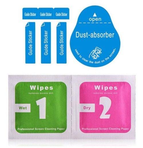 Ferramentas de limpeza de à prova de explosão de vidro temperado protetor de tela molhado seco 2 em 1 wipe + absorvente de pó para iphone 8 9 x samsung ipad telefone