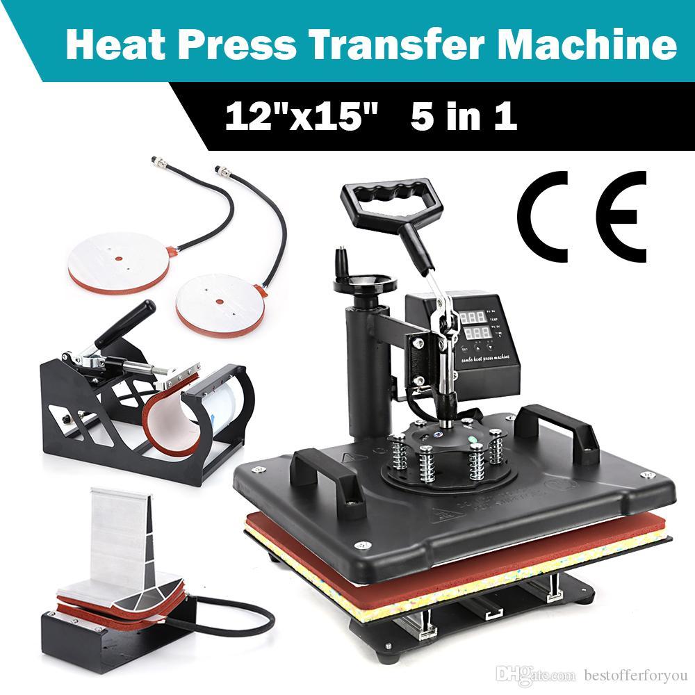 """12"""" x 15"""" 5 in1 Tişört Kupa Şapka Baskı Isı Transferi Machine Dijital Isı Basın Transfer Makinesi Transferi Sublime"""