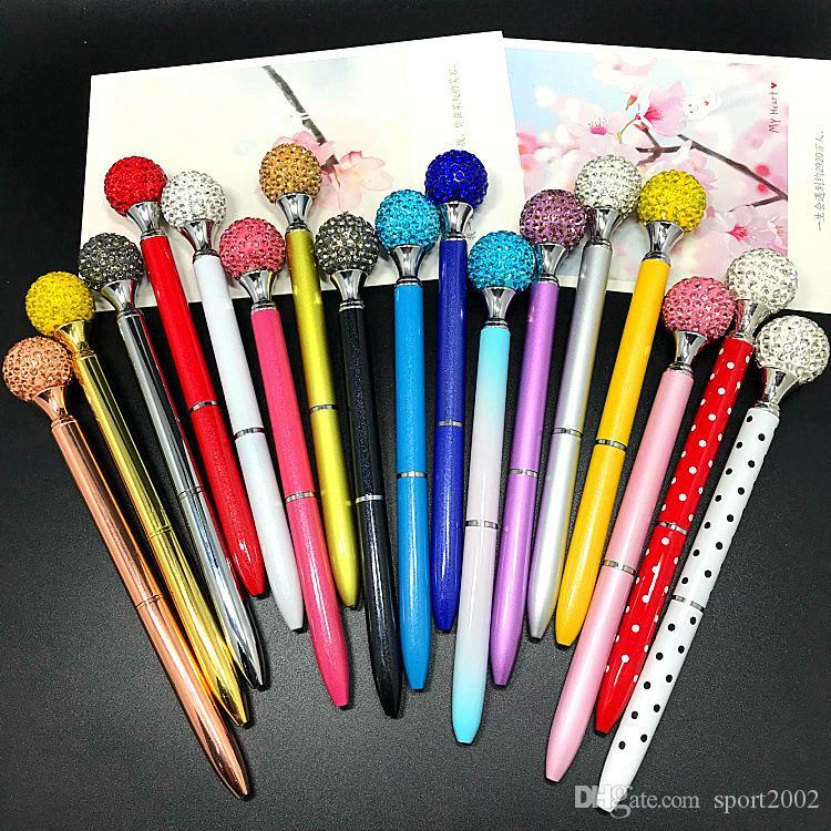LOGO Customize Cheap Crystal Stone Diamond Pearl Ball Ballpoint Pen Gem Wedding Office Supply Gift Metal Screw Tube Business Stylus Pen 031