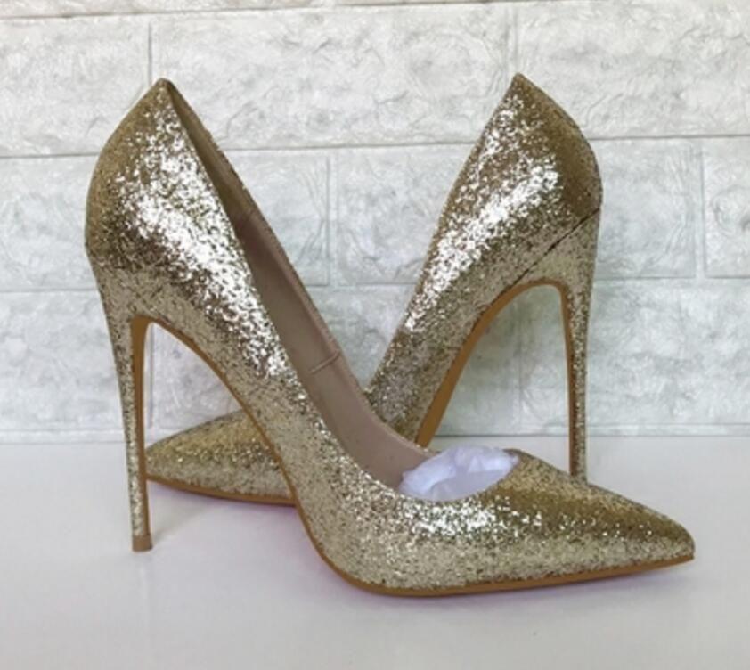 2019 nova luz dourada lantejoulas luz boca apontou stilettos saltos médios único sapatos weddin tamanho grande 44 boate dança 8 cm 10 cm 12 cm