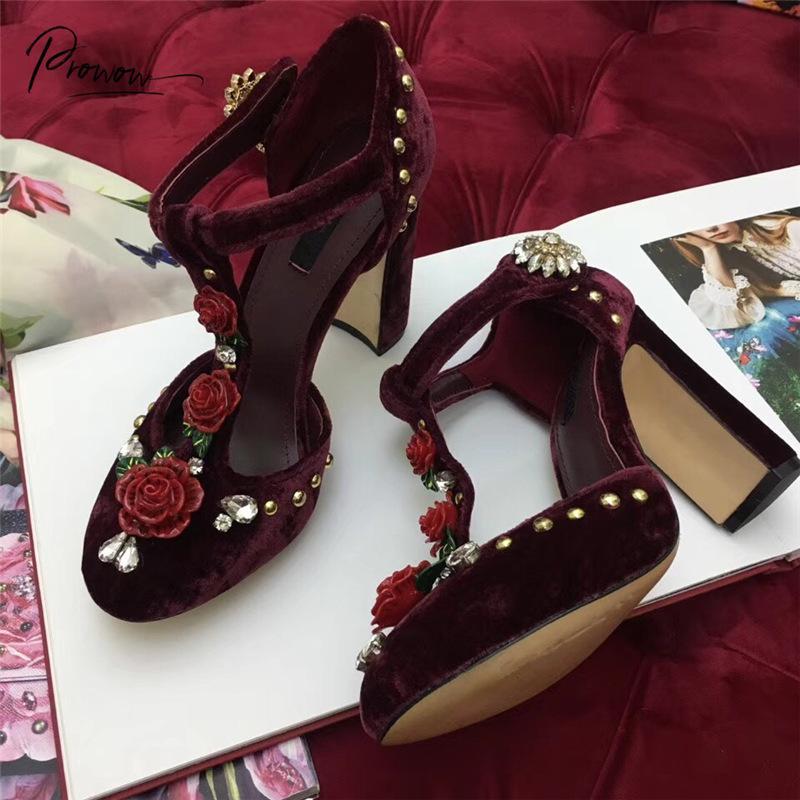 Prowow New Style rouge foncé véritable floral en cuir femmes Sandales d'été bout rond Boucle Bracelet épais talon haut Sandales Femme