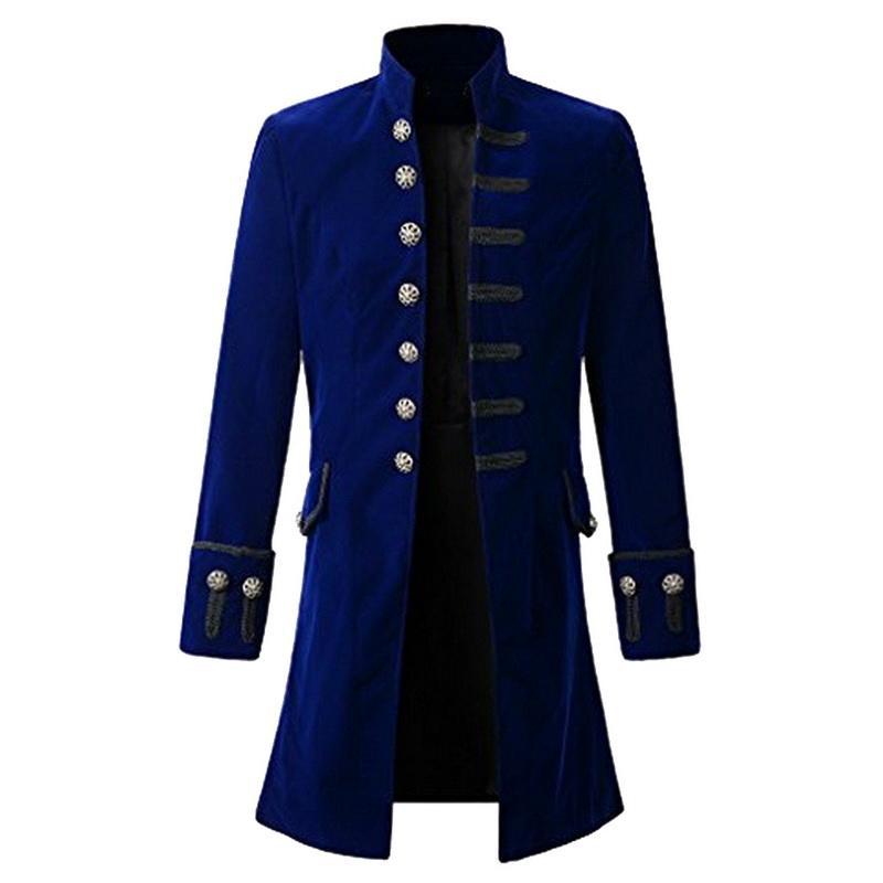 Vintage Mens Gothic Trench Coat Long Jacket Overcoats Steampunk Gothic Coats Men Halloween Punk Clothing Tenchcoats Black Blue