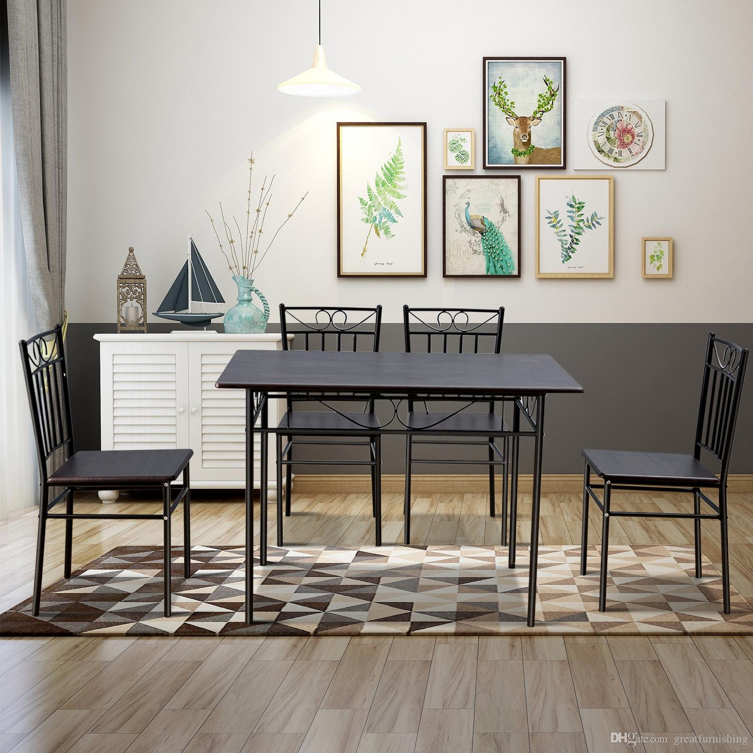 2019 Vintage Dining Table Set 4 Person Home Kitchen Table Chairs Wood Metal  Dining Room Breakfast Furniture Oak From Greatfurnishing, $193.33 | ...