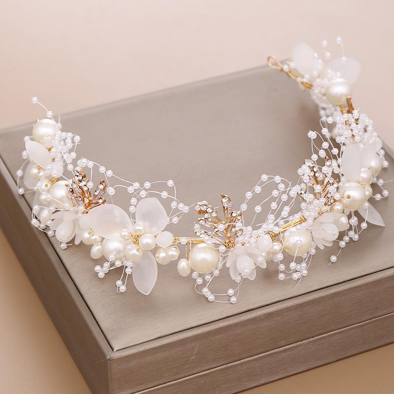 Yeni Beyaz İnci Çiçek Kafa İşi Altın Yaprak Çocuk Kadın Kafa Düğün Saç Takı