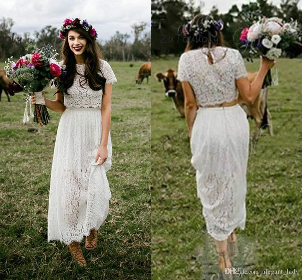 Romantisches Zweiteilige Brautkleid mit Hülsen-Spitze Boho-Rundhalsausschnitt-Knöchel-Länge Bohemian Hippie Kurz Braut-Kleid für Frauen 2019
