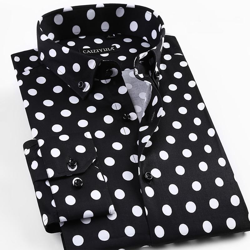 2019 İlkbahar Yeni Erkekler Polka Dot Baskı Uzun Kollu Gömlek Moda Erkek Gömlekler Casual Biçimsel Pamuk Gömlek