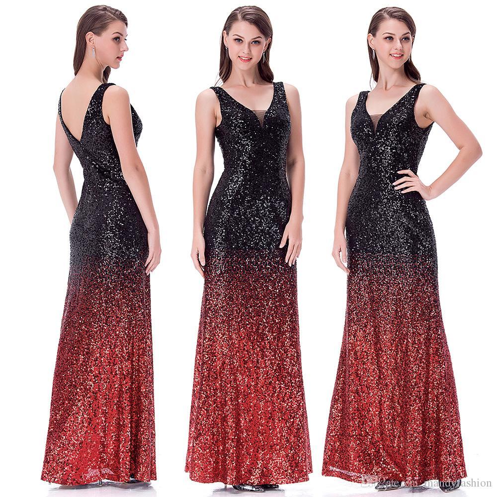 Großhandel Engel Moden Der Frauen Mit V Ausschnitt Glitzer Pailletten  Gatsby 16s Flapper Partei Abschlussball Kleid Kleid Abend Kleid Schwarz Rot  16