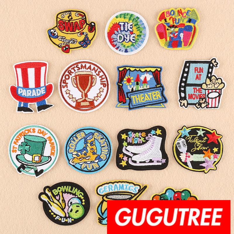 GUGUTREE cappelli ricamo ricamo patch patch patch applique per cappotto, t-shirt, cappello, borse, maglione, zaino SP-272