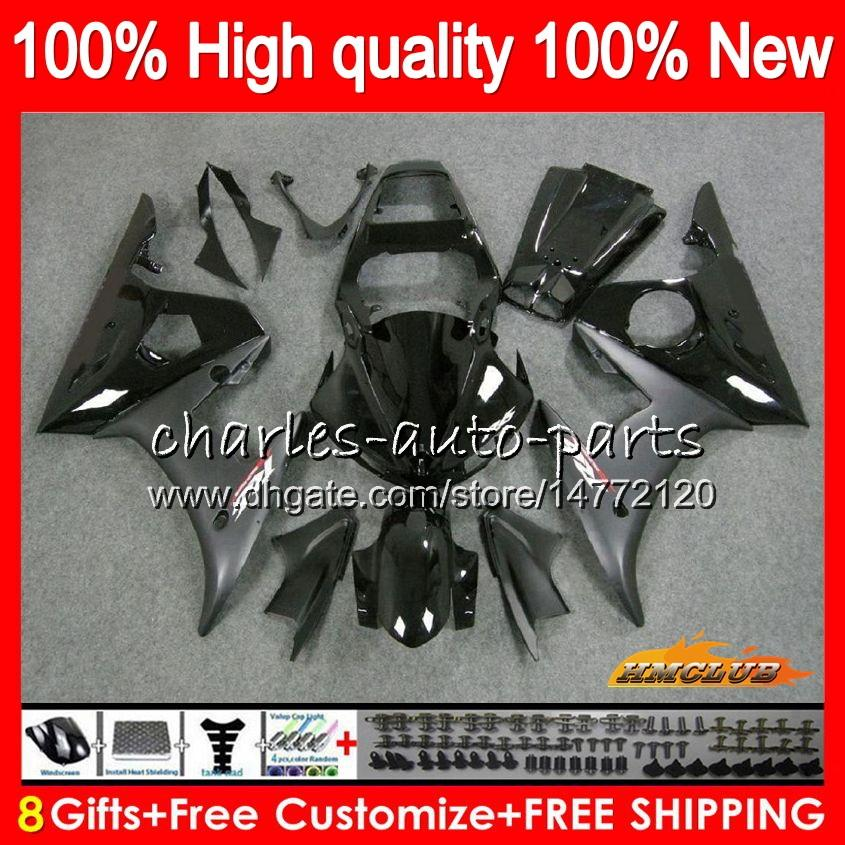 Body + 8Gifts YAMAHA YZF R6 S YZF600 YZFR6S 06 07 08 09 60HC.0 YZF600 YZF R6S 06-09 YZFR6S 2006 2007 2008 2009 Carénage Kit noir Stock