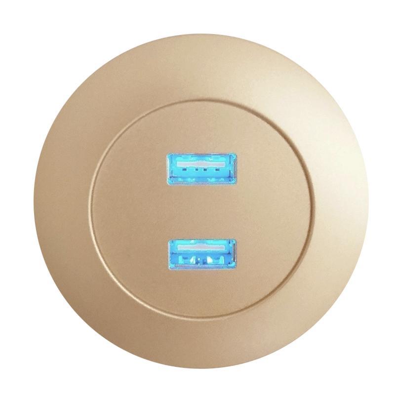 DIY تصميم جعله الذكية فندق أثاث المكاتب المنزلية اكسسوارات أثاث الأثاث المنزلي الشمبانيا الذهب جولة USB2.0 شاحن