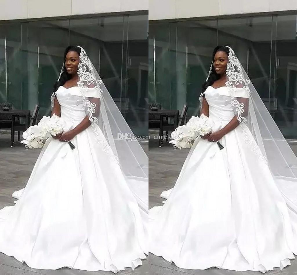 African Off Shoulder Wedding Dresses 2019 Sleeveless Court Train Simple Ball Gown Black Girls Formal Bridal Gowns Robe De Mariee Plus Size Wedding