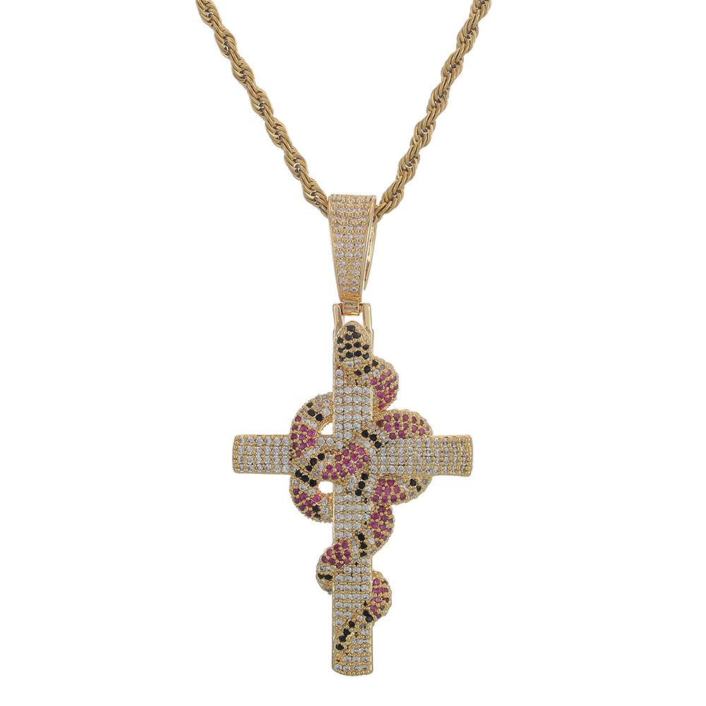Iced Out Snake Cross Pendant 4mm Tennis Chain Necklace Gold Silver Bling Cubic Zirconia Hiphop Rock Jewelry