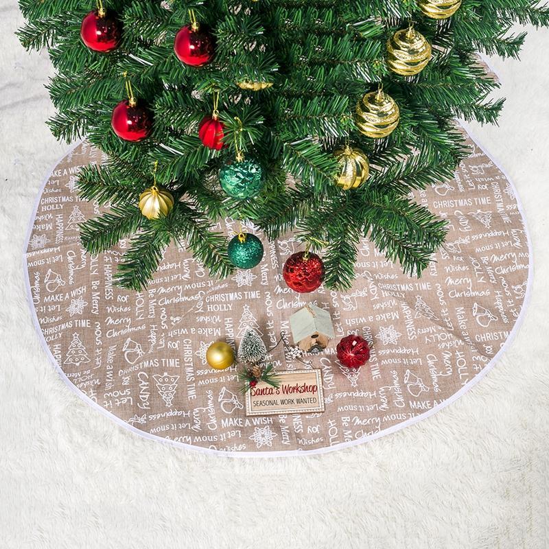 60/80/100cm Christmas Tree Skirt Christmas Tree Ornament Letter Print Christmas Tree Skirt Round Polyester Xmas Trees Skirt DBC VT1085