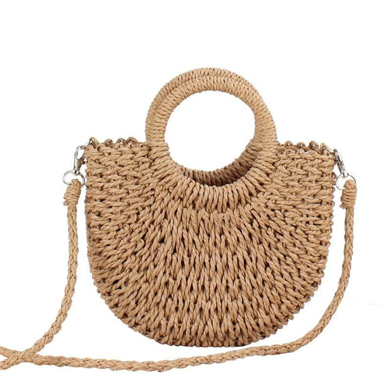 Handmade semicircolare rattan intrecciato Borsa di paglia di estate delle donne del messaggero di Crossbody Borse ragazze piccola spiaggia della borsa della borsa design casual