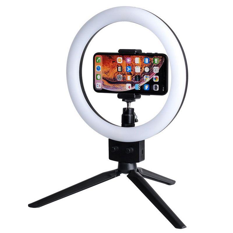 "Handy-LED-Ringlicht 10W 7 ""Selfie Ringlampe 2800-5500K fotografische Beleuchtung mit Stativ Moblie Telefonklammer US-Standard"