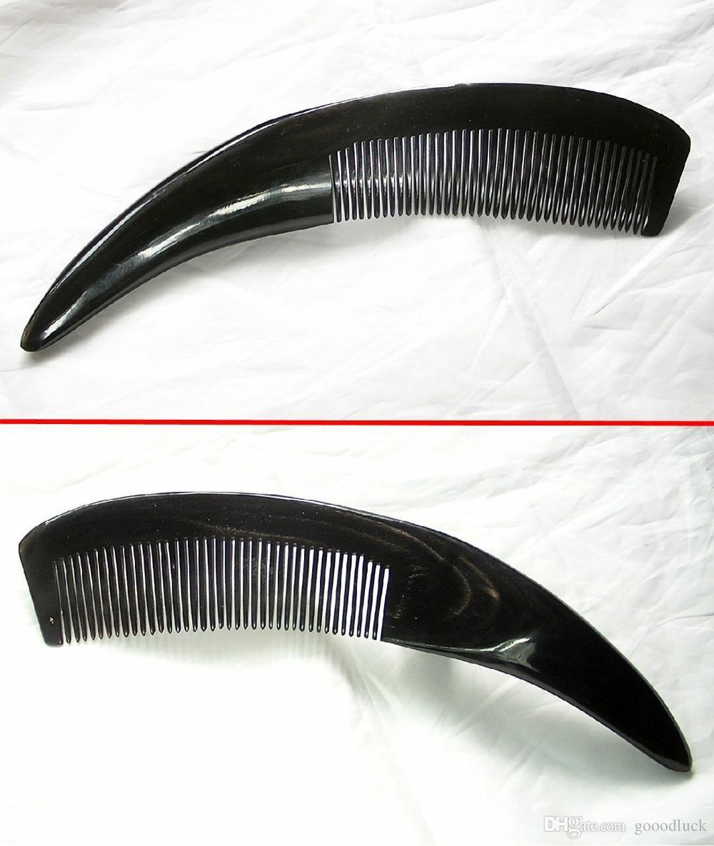 [Vida sana] 27cm Hecho a mano Fuerte Cuerno de Yak tibetano tallado peine Y29