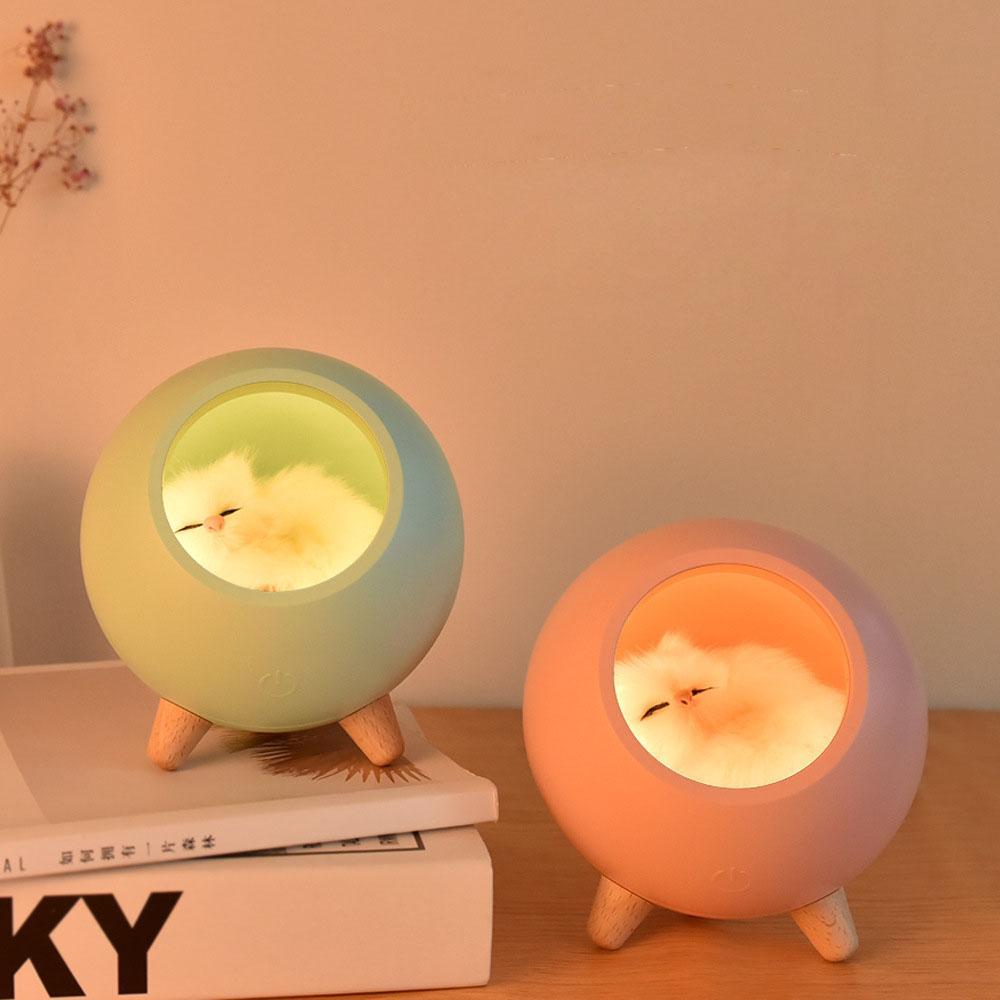 القط لطيف الحيوانات الأليفة في البيت ليلة ضوء عكس الضوء الشحن عن طريق USB التي تعمل باللمس الاستشعار نوم الديكور مصباح السرير الغلاف الجوي الخفيفة هدية