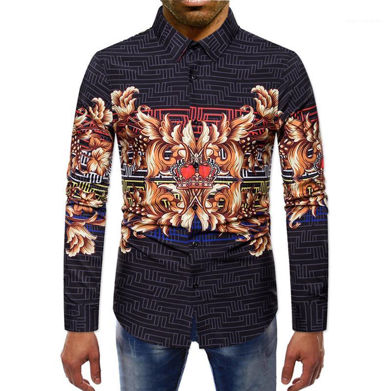 Impresión floral del diseñador del Mens Camisas casual para hombre de impresión solo pecho hombres Ropa digitales camisas casuales de la moda