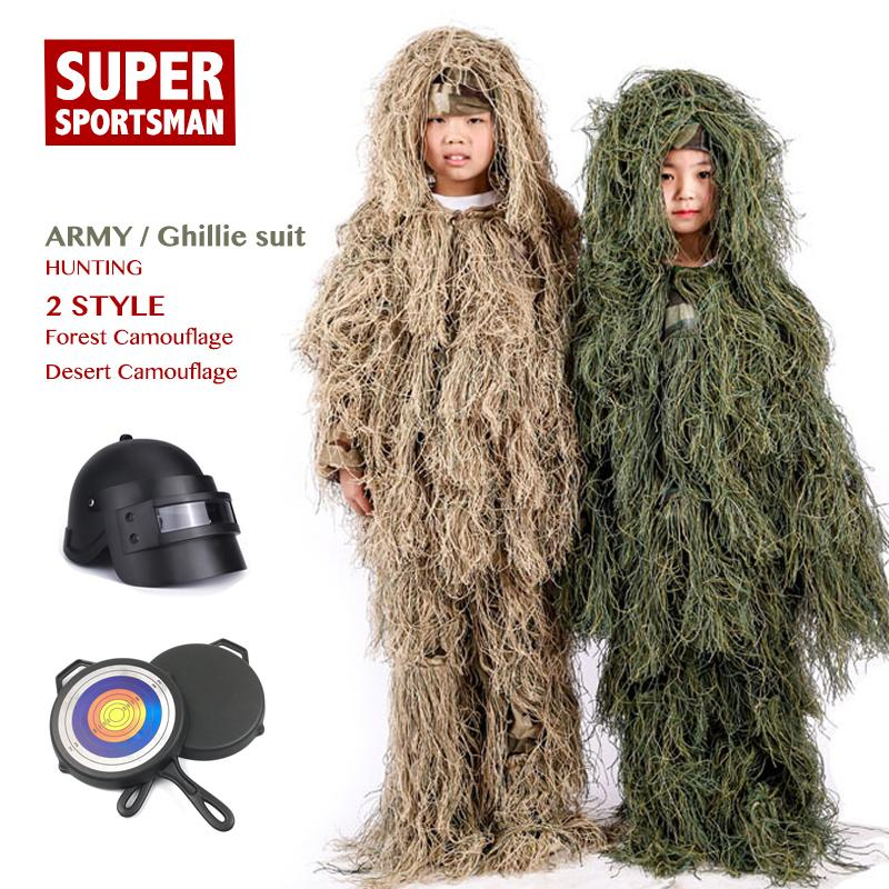 Children Jungle Mens Ghillie Suit Boy Camouflage Sniper Hunting Clothes Kids Girl Woodland Tactical Uniform Army Combat Clothing