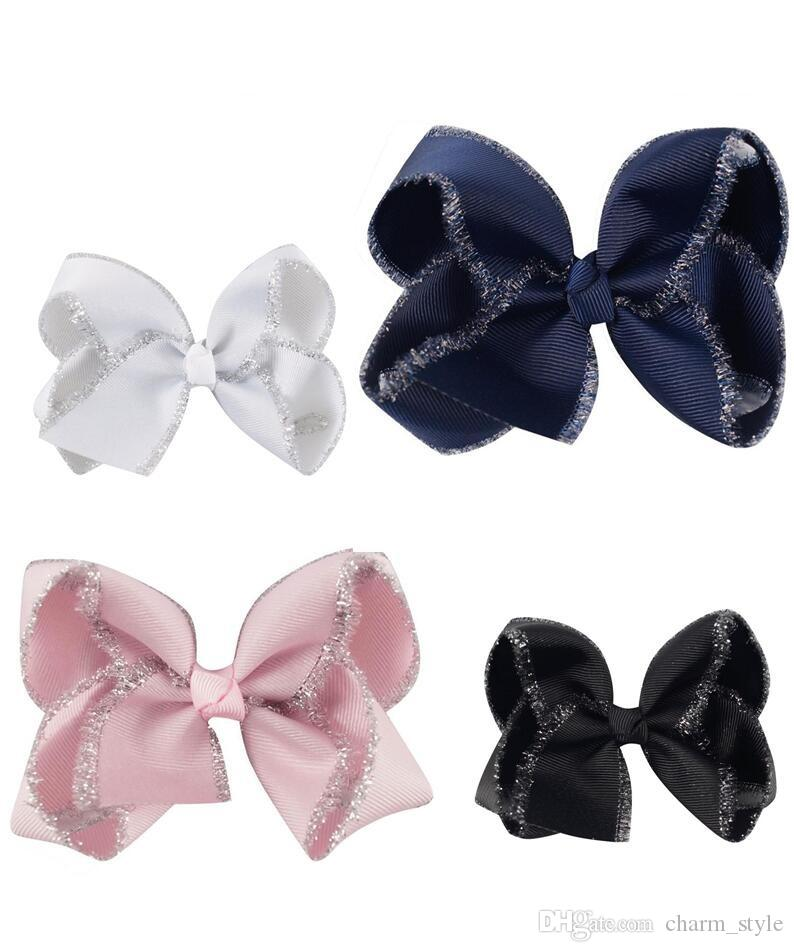 """16 pçs / lote 4 """"cabeça dos miúdos Acessórios fita de gorgorão sólida Hairbow com clipes Handmade Glitter borda cabelo arco meninas Headwear"""