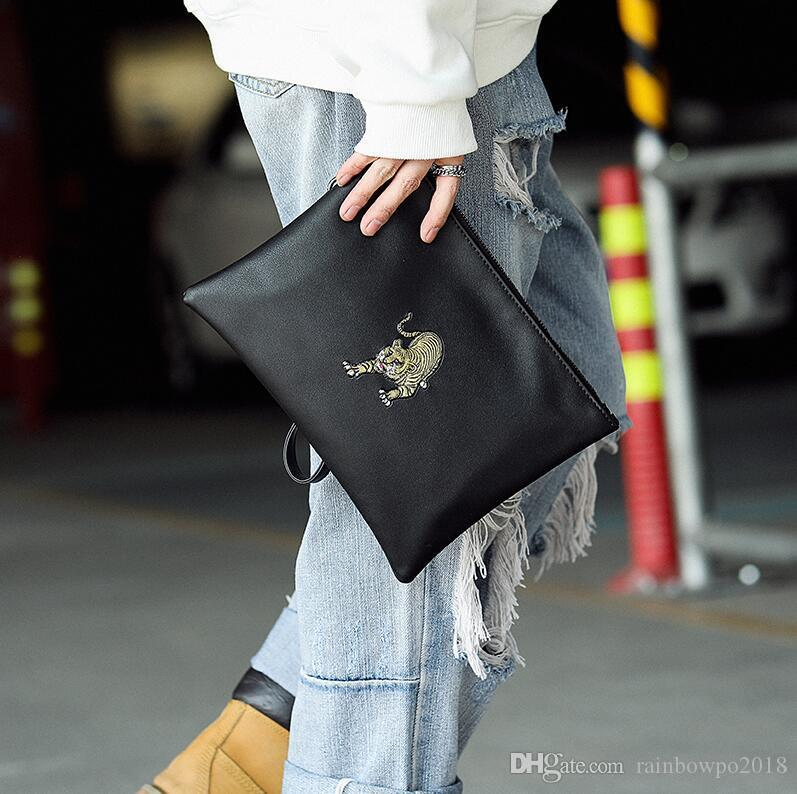 Factory wholesale men handbag minimalist leather fashion clutch multifunctional embroidery storage wallet street trend leather men envelope