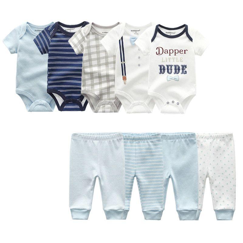 2019 Baby-Kleidung Sommer Neugeborenes Overall kurze Ärmel 5Pcs Babyspielanzug 4 Hose aus 100% Baumwolle Unisex Jungen-Mädchen-Kleidung