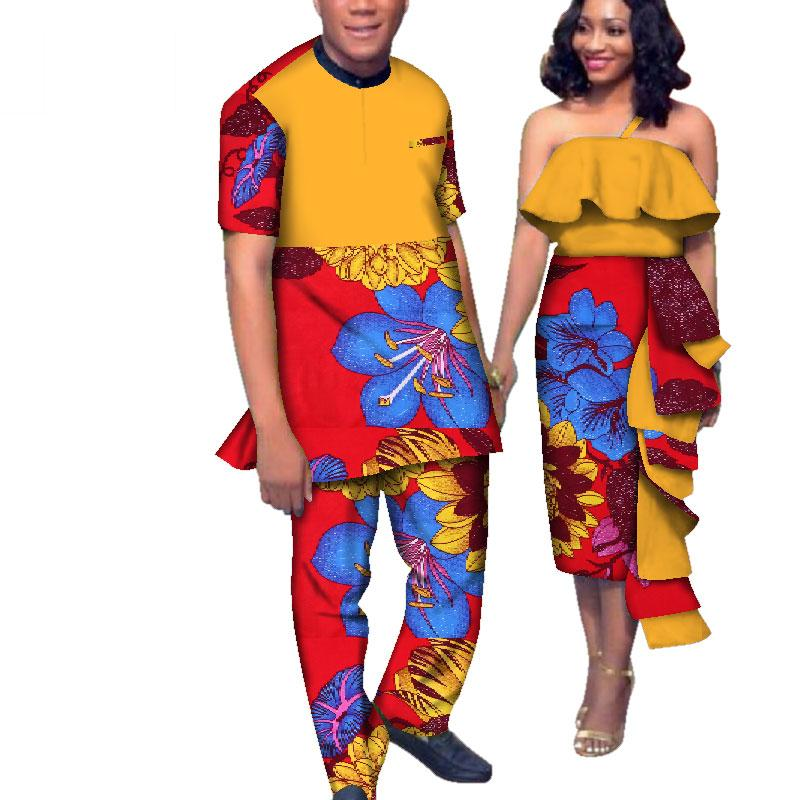 África Estilo Casais Roupas para Os Amantes Doces Mulheres Bazin Vestido de Conjuntos de Homens Dashiki Plus Size Roupas de Casamento WYQ163