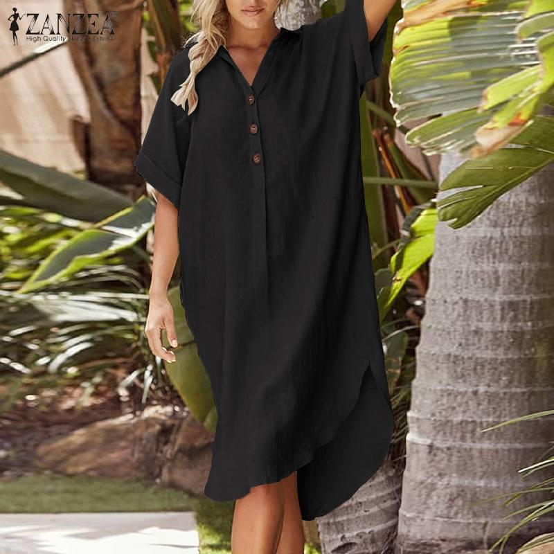 2020 الصيف قميص فستان أنيق القطن عمل فستان الشمس ZANZEA المرأة عادية الصلبة طية صدر السترة قصيرة الأكمام قمم اللباس أنثى تونك رداء