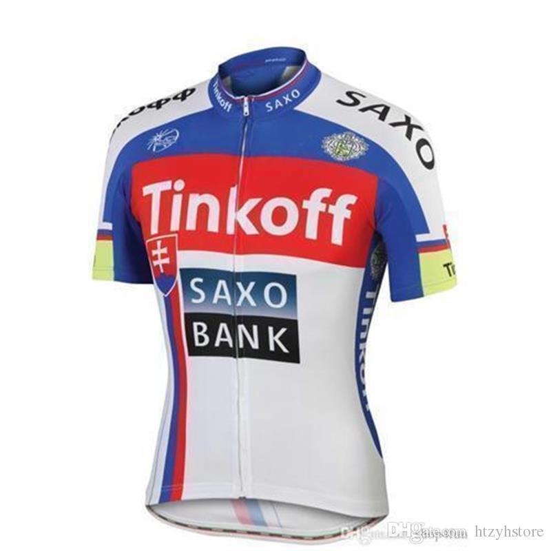 ht 2015 circuito profissional de france Tinkoff saxo campeão banco Ciclismo Jerseys Quick Dry mangas curtas camisas de ciclismo vermelho cor azul branco