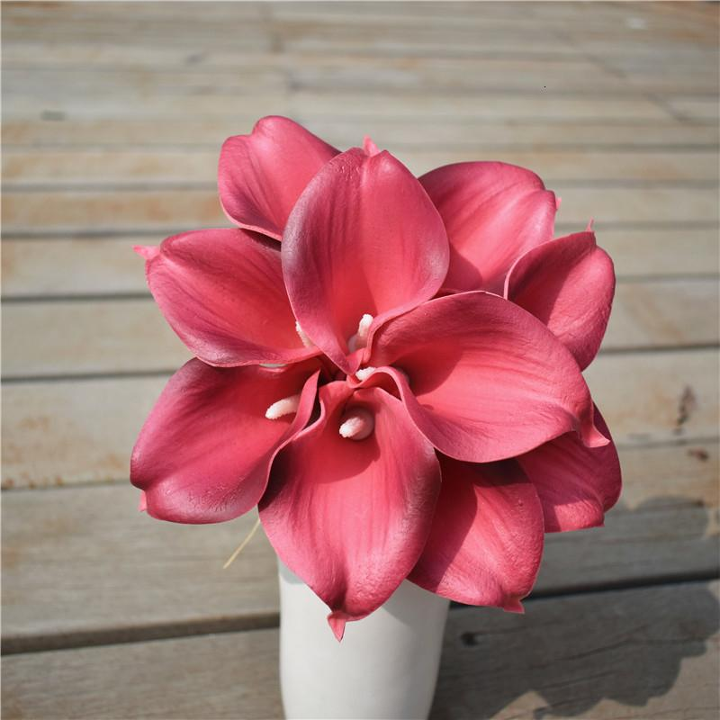 Maison de poupées Lilies 6 Rose Lily Fleurs sur tige Miniature Vase de Jardin Accessoire