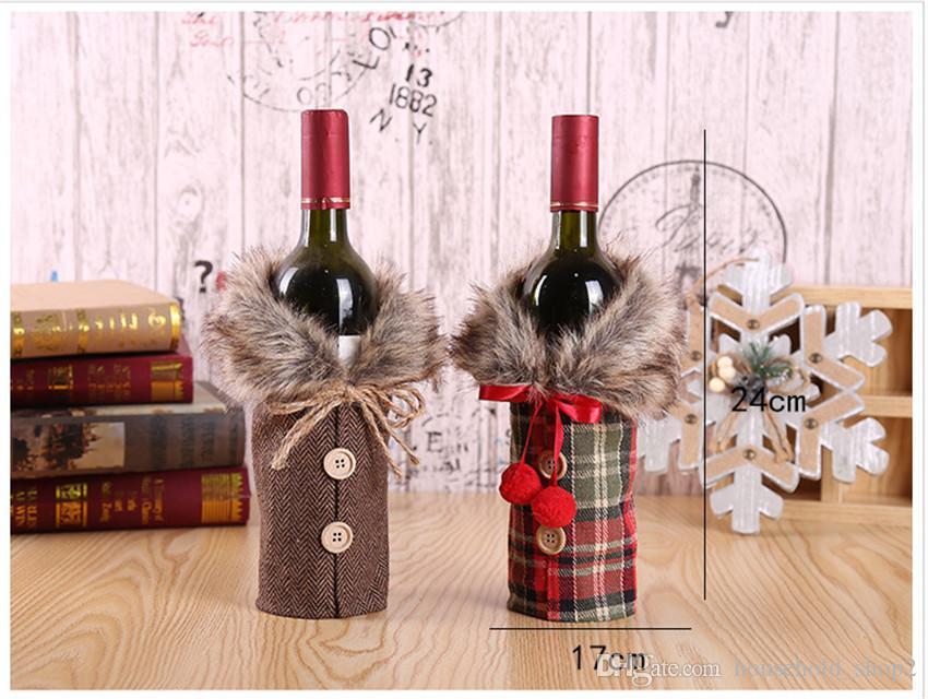 decorazione della tavola di Natale decorazione bottiglia di vino bella set sacchetto del vino biancheria bowknot regalo insieme della bottiglia decorazioni di Natale A05