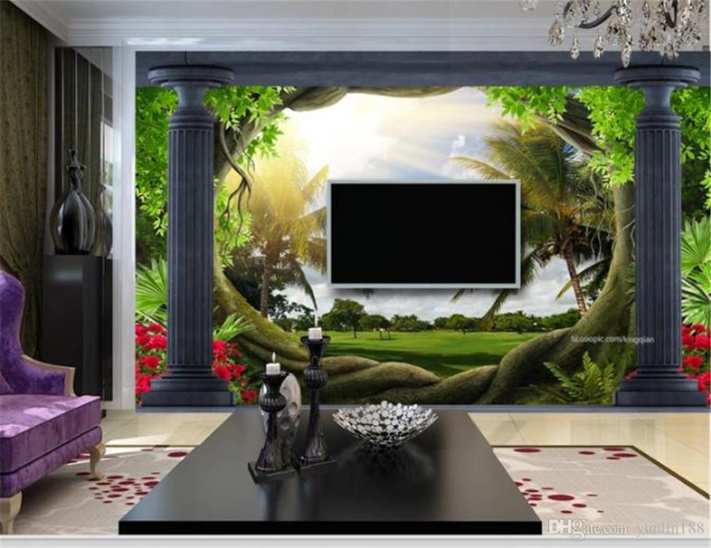 3d Wallpaper Wall Promotion Roman Column Woods Coconut Meadow 3d Landscape Decoration Wallpaper 3d Wall Paper Home Decor Custom Bollywood Wallpaper